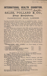 Advert for Sales, Pollard & Co, tobacco manufacturers 6850